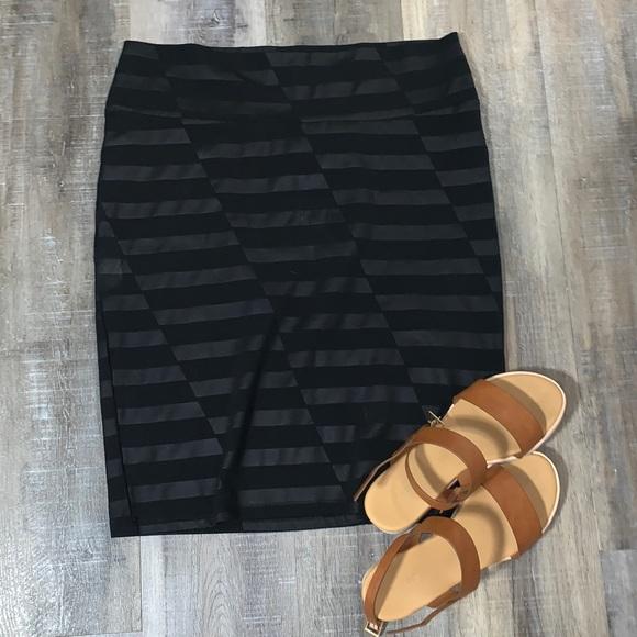 LULAROE - Black Patterned Cassie Skirt